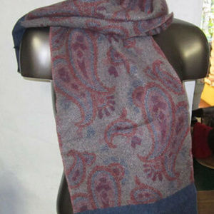 """scarf 58 X 11"""" wrap 100% wool blue red gray design"""